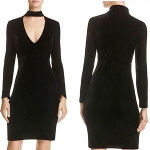 Bardot long sleeve black velvet choker collar dres